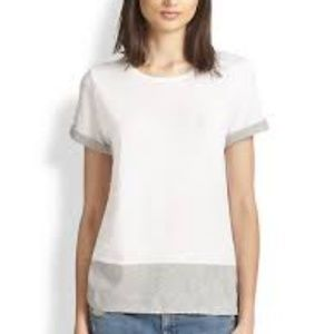 Vince Color block white gray tee